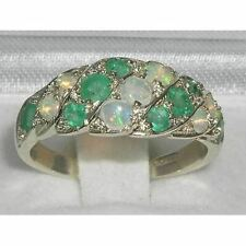 Luxury Ladies Solid Sterling Silver Natural Fiery Opal & Emerald Band Ring