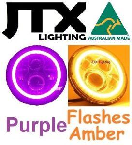 "7"" LED Headlights PURPLE Halo Hillman Hunter Gazelle Minx Flashes AMBER turning"