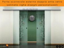 Puerta Corredera Exterior Doble Anta Vidrio Satinado Líneas Diseño Personalizado