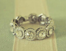 Cocktail Party Band Solid 925 Sterling Silver Round Halo Eternity Wedding Gift