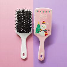 Portable Christmas Tree Santa Snowman Girls Comb Massage Hair Brush Wide Wide
