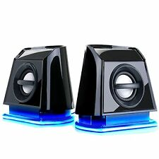 GOgroove BassPULSE 2MX USB Computer Speakers with Blue LED Glow Lights