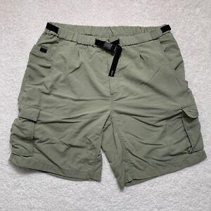 "Columbia GRT Nylon Hiking Cargo Shorts XL Green Mens 10"" Inseam Belted Logo"