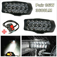 2 Pcs 36W 3600LM 6000K White LED Car SUV Spotlight Headlight Fog Lamp DRL+Switch
