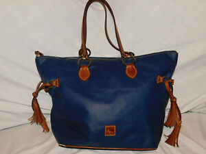 DOONEY & BOURKE BLUE CANVAS AND LEATHER TOTE PURSE