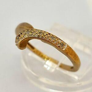 9ct Yellow Gold Wishbone Diamond Ring Size P Hallmarked
