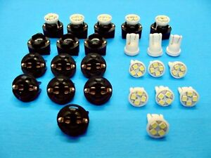 "15 White 4 LEDs Lights Bulbs 1/2"" Sockets Side Marker License Plate For Imports"