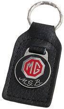 MG MGB car key ring / fob - leather and enamel
