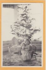 Real Photo Postcard RPPC - Little Girl with Doll Vanity and Christmas Tree