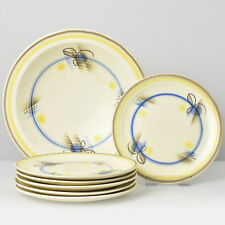 Art Deco Bauhaus Era Pottery Plates + Bowl Set by Annaburg Spritzdekor Airbrush