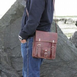 Vintage Retro Brown leather messenger men briefcase laptop shoulder bag Satchel