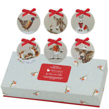 Royal Worcester Wrendale Designs Set of Six Christmas Tree Decorations (BOXED)
