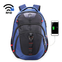 Swiss Digital Vector Men's Two-Tone USB-Charging Laptop Travel Backpack SD-803