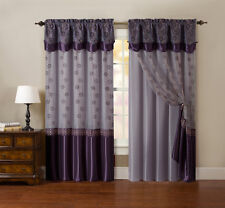 "One Piece Window Curtain Drapery Sheer Panel: Plum Purple and Gold, 55""x90"""