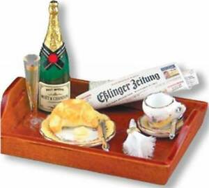 DOLLHOUSE Champagne Breakfast Tray 1.457/8 Reutter French Rose Miniature