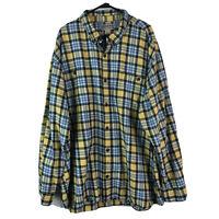 Duluth Cotton Flannel Button Down Shirt Mens 4XL Blue Yellow Plaid Long Sleeve
