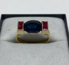 Ancienne bague Art Déco en or 18 carats avec Saphir et rubis