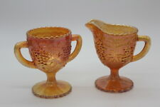 Vintage Carnival Glass Sugar and Creamer Set, by Imperial, with Papers, Grapes