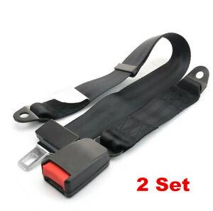 2x Black Car Seat Belt Lap 2 Point Safety Travel Adjustable Kit Auto Accessories