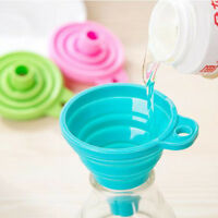 Home Kitchen Mini Funnels Silicone Gel Foldable Collapsible Funnel Hopper Tools