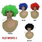 Black Blonde Pink Blue Red Orange Green Curly Afro Fancy Dress Funky Wig Clown