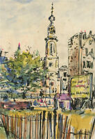 Peter Collins ARCA - Mid 20th Century Pen and Ink Drawing, The Town Square