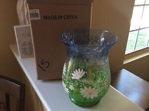 New Yankee Candle 2012 Large Pillar Crackle Glass Holder Daisy Flowers 1246558
