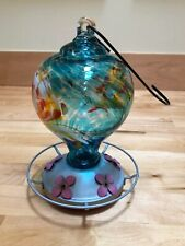 Hand-Blown Glass Hummingbird Feeder Blue/Multi Colored Swirled w/ Circular Perch