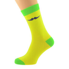 Yellow & Green Mens Socks with Purple Moustache Design X6TC011-004