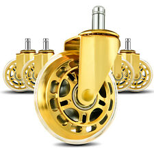 Lphy Office Chair Wheels 3 Rubber Chair Casters Wheel Replacement Gold 5 Pack