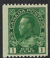 Scott 131: 1c green King George V, perf 12 vertical coil single, F-VF-LH