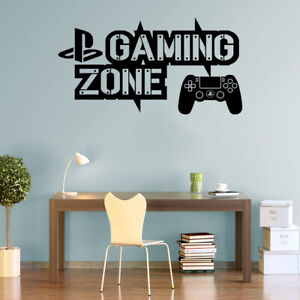 Gaming Zone Wall Stickers Playstation 4 Controller Gamer Vinyl Decals Decor PS4