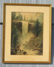 Antique Art Crafts Mission Picture Frame Vernal Falls Painting by E Hutton 12~15
