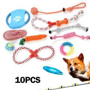 10Pc Dog Rope Chew Toys Kit Tough Strong Knot Ball Pet Puppy Cotton Teething Toy