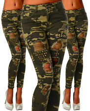 Sexy Ripped Jeans Setetchy Trousers Skinny Slim Army Military Green  B 623