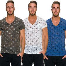Bequem sitzende Herren-T-Shirts mit V-Ausschnitt Camouflage