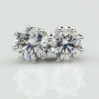 2Ct Round Brilliant Moissanite Solitaire Stud Earrings In 10K White Gold Finish