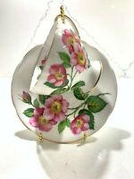 Royal Standard Pink Flowers Footed Cup & Saucer Set Vintage Bone China England