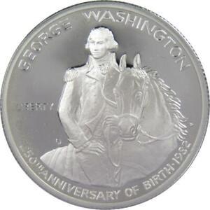 George Washington Commemorative 1982 S 90% Silver Half Dollar Proof 50c Coin