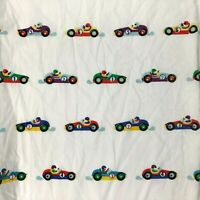 Race Car Fitted Sheet Twin Child Bed Crafts Vtg Dan River Olive Kids 2001
