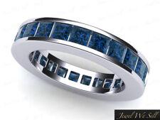 Natural 4.60Ct Diamante Azul Juego Canal Boda Eternidad Anillo de Banda 14k Oro