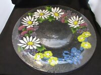 "VINTAGE Very Large Fused Art Glass Flowers serving Platter 20"" Across"