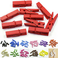 20x Mini Wooden Craft Pegs / Photo Clips, 35mm choose colour JO