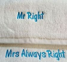 personalised bath towels MR RIGHT & MRS ALWAYS RIGHT - or add names instead