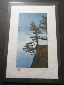 Forest Tree edge cliff Japanese moku hanga washi woodcut woodblock print signed