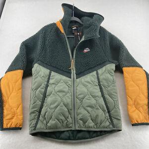 Nike Sportswear Heritage Hooded Sherpa Jacket Mens Medium Green Kumquat