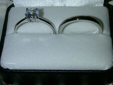 Womens Ladies New Diamondesque Wedding + Engagement Ring Set Rings Size 9 UK R½