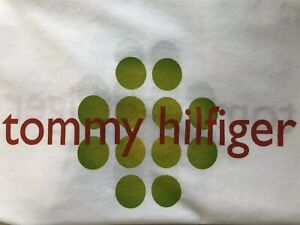 Tommy Hilfiger Standard Size White Pillowcase Green Dots Rare Pillow case