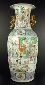 Large Vase Baluster China XIX ° China Combat Warriors For the Emperor 61cm
