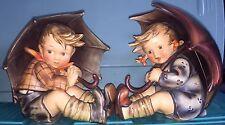 "Vintage Goebel Hummel Large 8"" Umbrella Boy 152A & Umbrella Girl 152B Figurines"